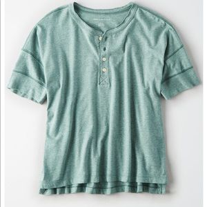 New American Eagle oversized henley shirt top